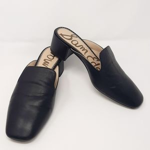 "Sam Edelman ""Adair"" Black Leather Square Loafers"